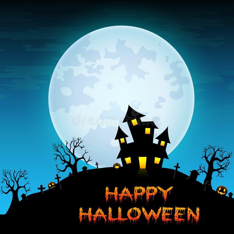Fondo de la noche de Halloween con el castillo espeluznante en cementerio en la Luna Llena blanca stock de ilustración