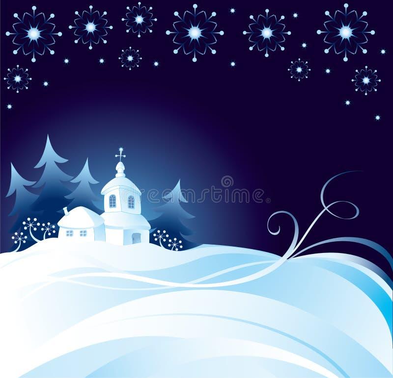 Fondo de la noche de la Navidad stock de ilustración