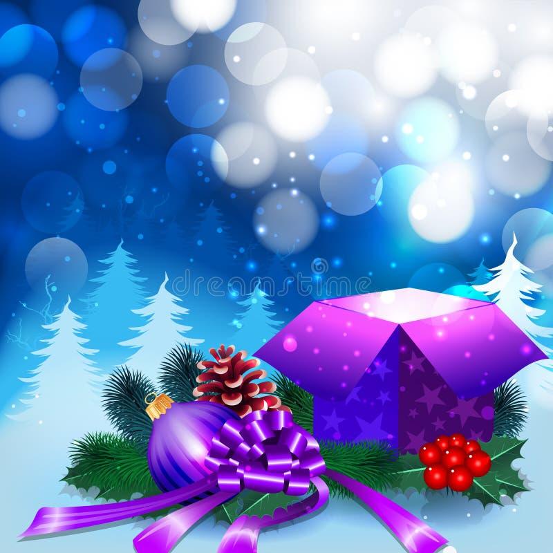 Fondo de la noche de la Navidad con la caja de regalo ilustración del vector