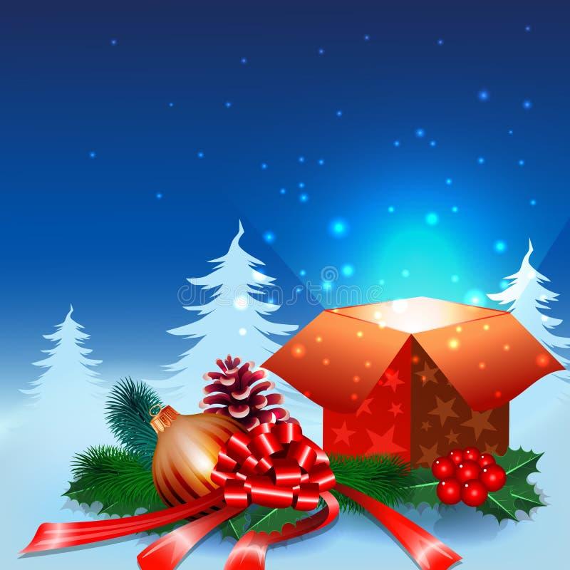 Fondo de la noche de la Navidad con la caja de regalo stock de ilustración