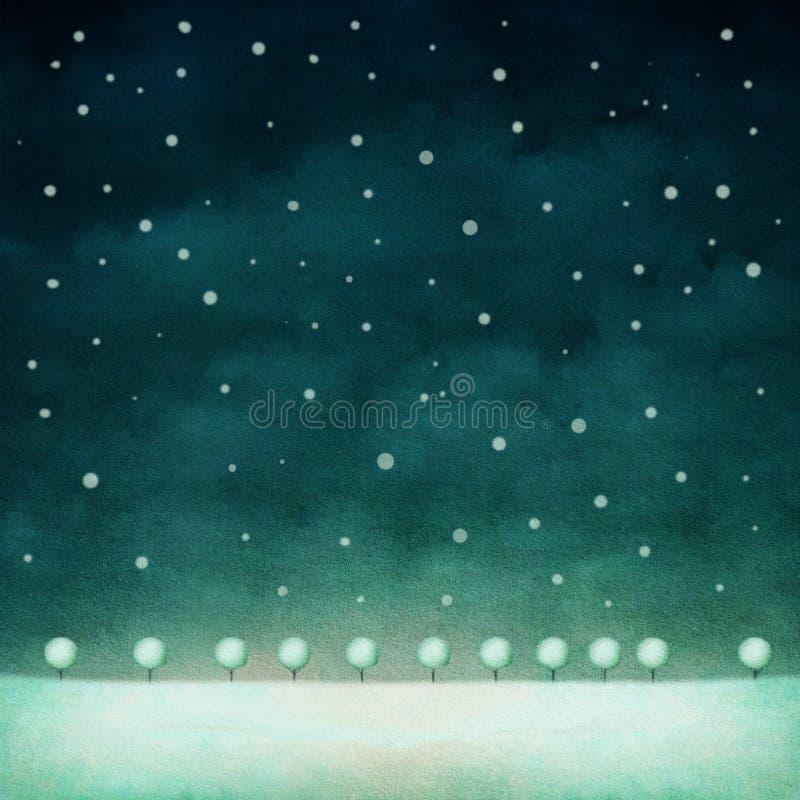 Fondo de la noche del invierno stock de ilustración