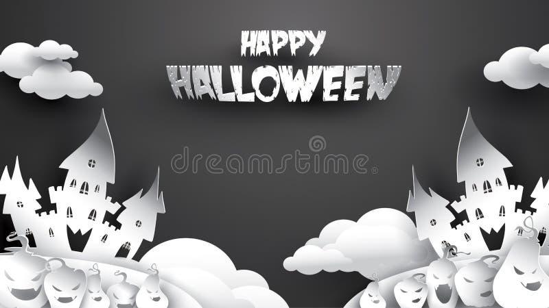 Fondo de la noche de Halloween con la calabaza, la casa encantada, el castillo y la Luna Llena Plantilla del aviador o de la invi libre illustration