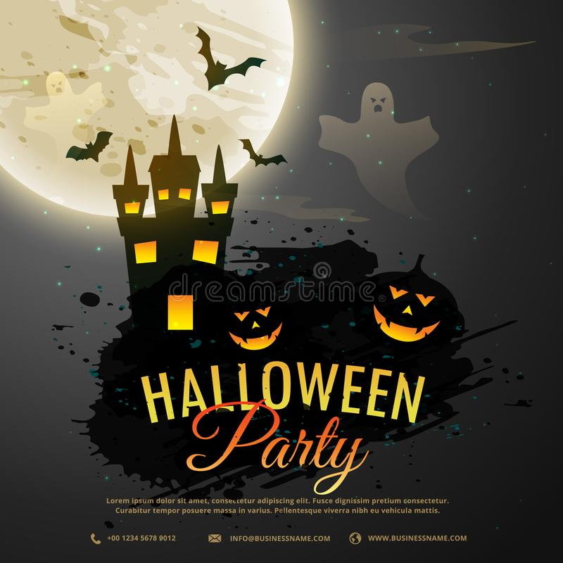 fondo de la noche de Halloween con el castillo espeluznante, fantasma, calabaza libre illustration