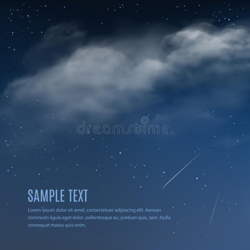 Fondo de la noche, nubes y estrellas brillantes en el cielo azul marino Ejemplo del vector del cielo nocturno stock de ilustración