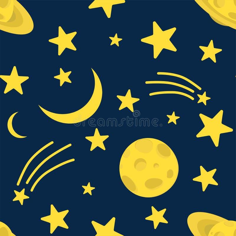 Fondo de la noche, Saturn, luna, cometa y estrellas brillantes en el cielo azul marino, ejemplo del vector Concepto de las buenas libre illustration