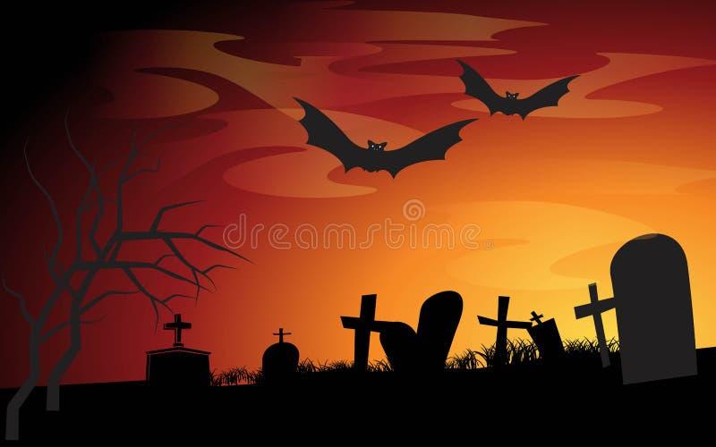 Fondo de la noche de Víspera de Todos los Santos ilustración del vector