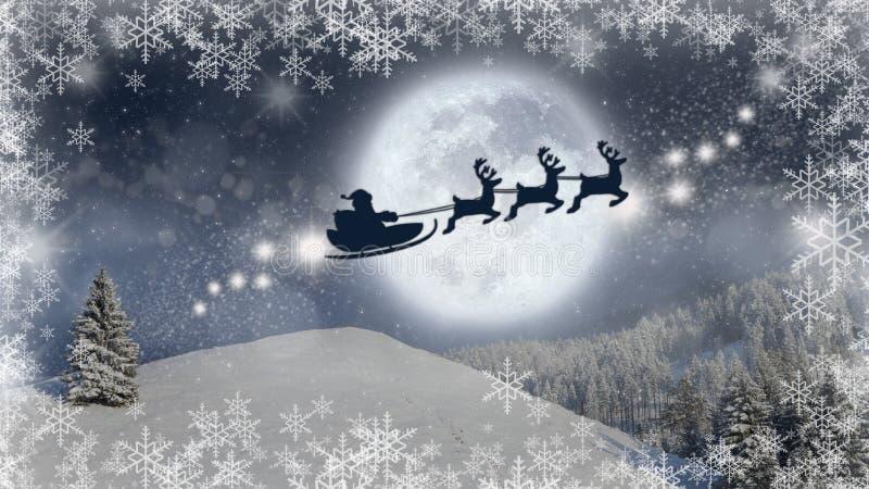 Fondo de la Nochebuena, escena mágica de la Navidad con Santa Claus en un vuelo del trineo con su reno ilustración del vector