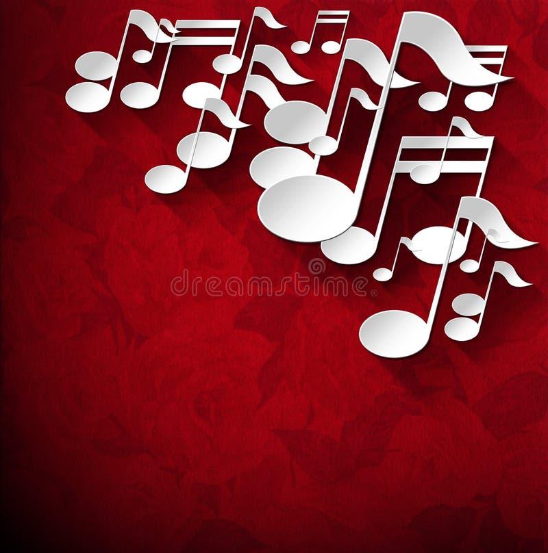 Fondo de la nota de la música - rosas rojas del terciopelo ilustración del vector