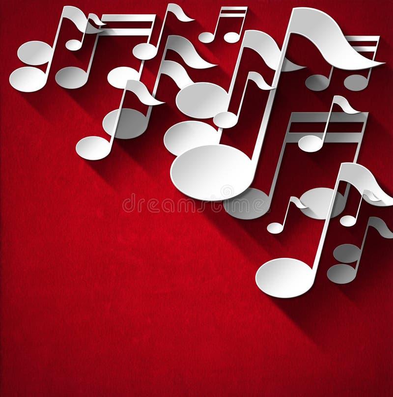 Fondo de la nota de la música - terciopelo rojo stock de ilustración