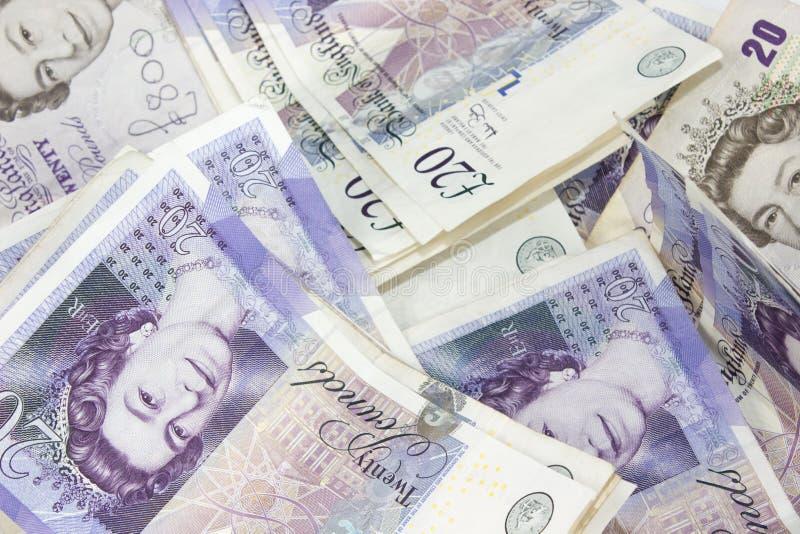 Fondo de la nota de veinte libras imagen de archivo