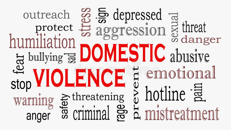 Fondo de la nube de la palabra del concepto de la violencia doméstica y del abuso libre illustration