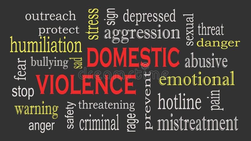 Fondo de la nube de la palabra del concepto de la violencia doméstica y del abuso stock de ilustración