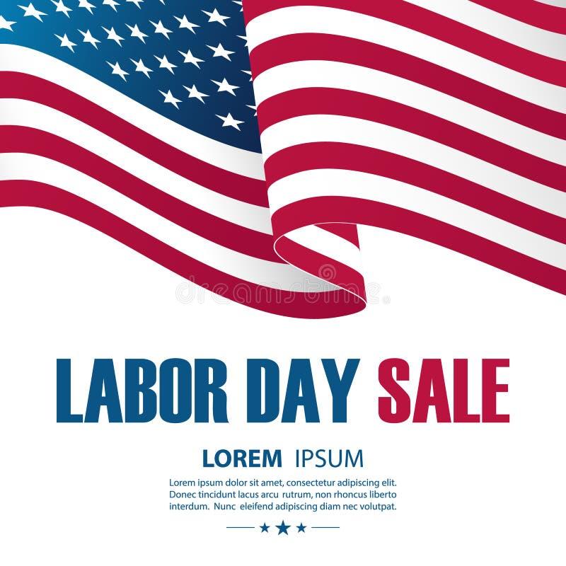 Fondo de la oferta especial de la venta del Día del Trabajo con agitar la bandera nacional americana ilustración del vector