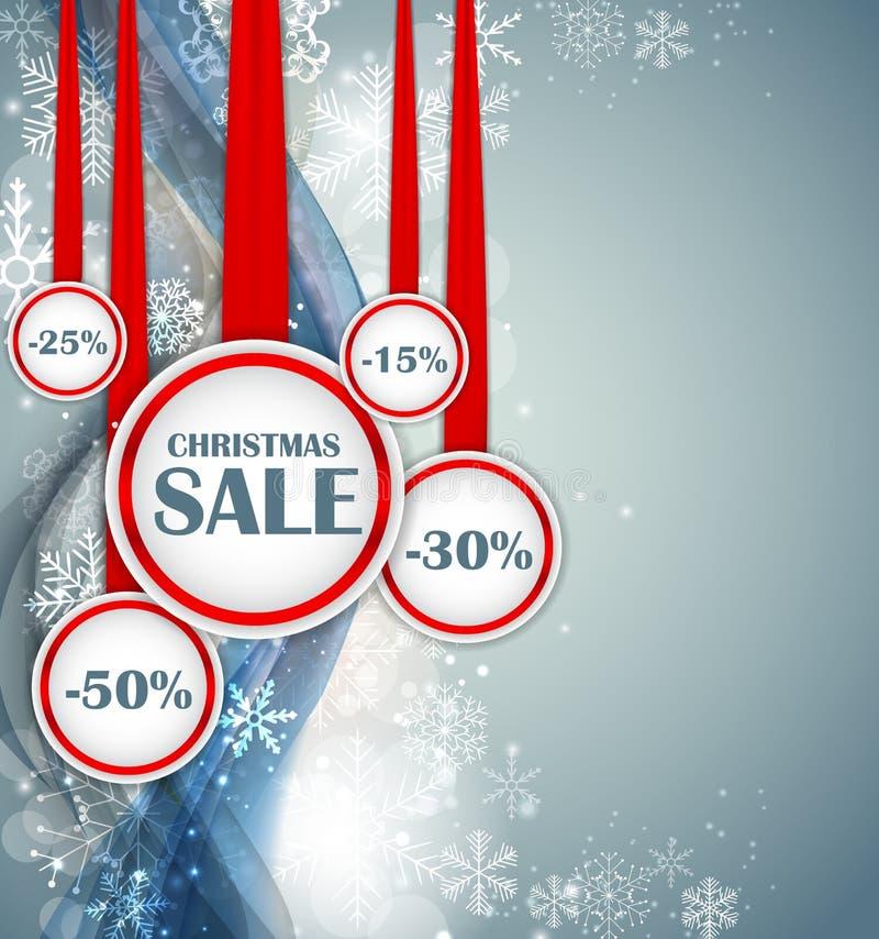 Fondo de la onda del concepto de la VENTA de la Navidad abstracta y del Año Nuevo con las luces y los copos de nieve Ilustración  ilustración del vector