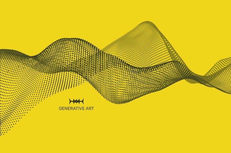 Fondo de la onda Rejilla de la ondulación ejemplo abstracto del vector estilo de la tecnología 3D Ejemplo con los puntos Diseño d ilustración del vector