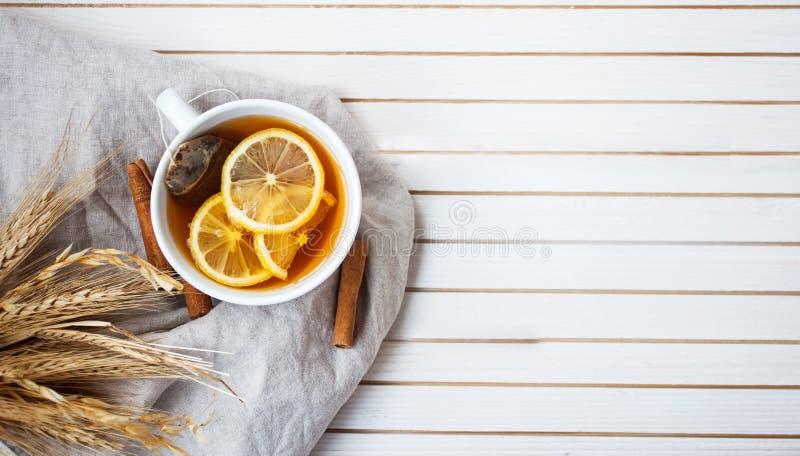 Fondo de la opinión del Tp de la taza caliente de té fotografía de archivo