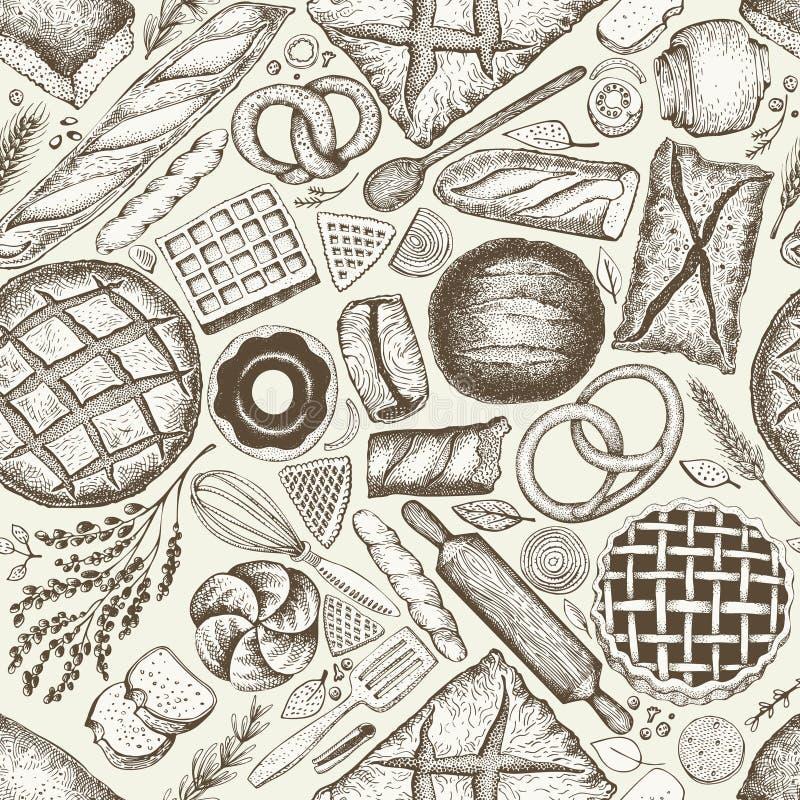 Fondo de la opinión superior de la panadería Dé a vector exhausto el modelo inconsútil con pan y pasteles Ilustración retra Puede libre illustration