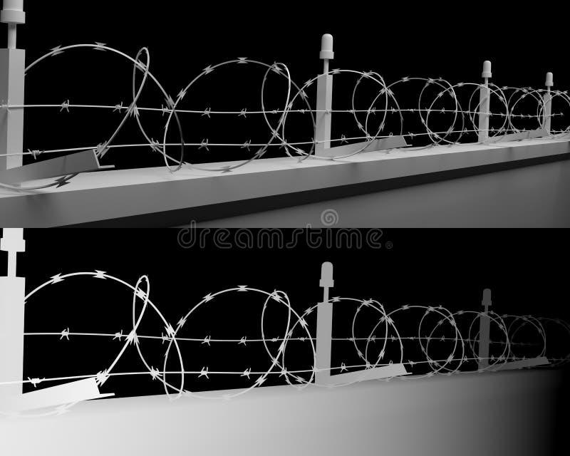 Fondo de la pared de Barbwire con las trayectorias de recortes y el mapa de profundidad fotografía de archivo libre de regalías