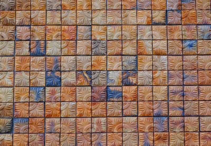 Fondo de la pared de ladrillo del cuadrado de Brown, fondo abstracto foto de archivo libre de regalías