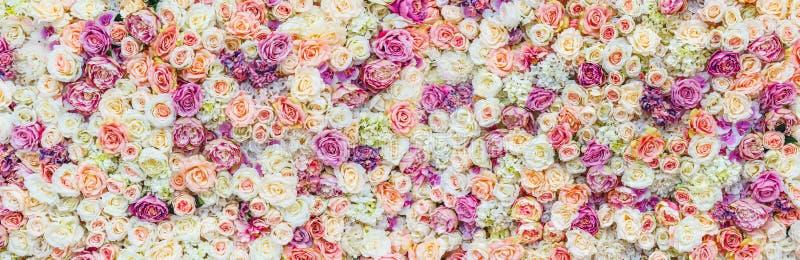 Fondo de la pared de las flores con sorprender las rosas rojas y blancas, casandose la decoración, hecha a mano fotografía de archivo libre de regalías