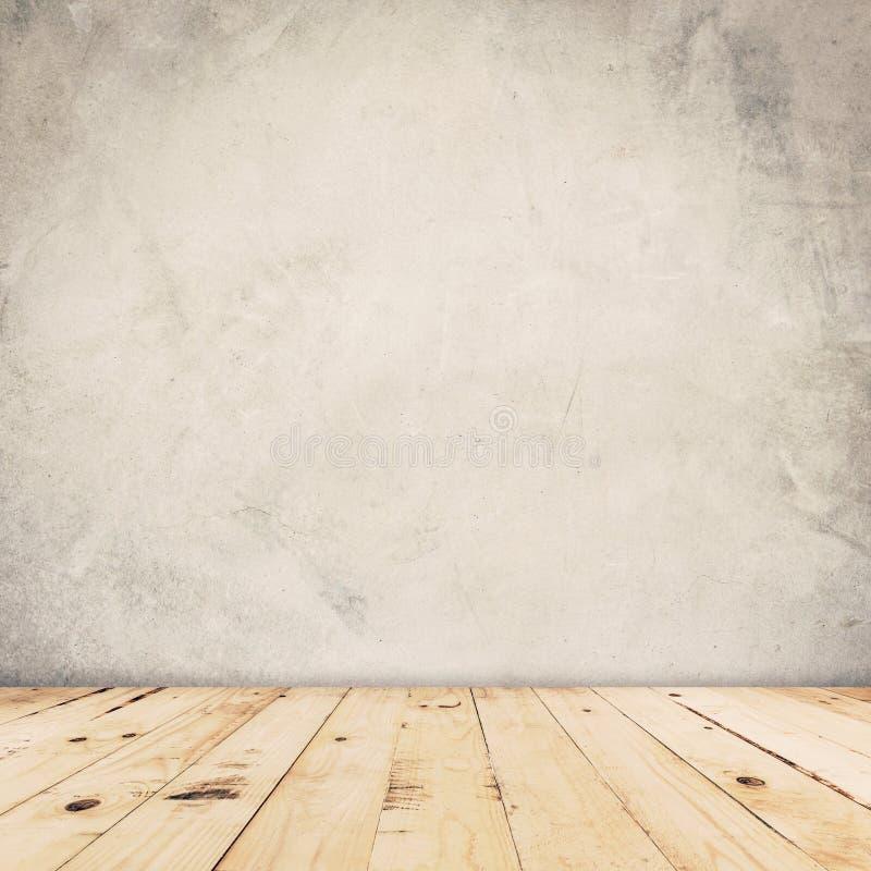 Fondo de la pared del cemento y piso de madera imágenes de archivo libres de regalías
