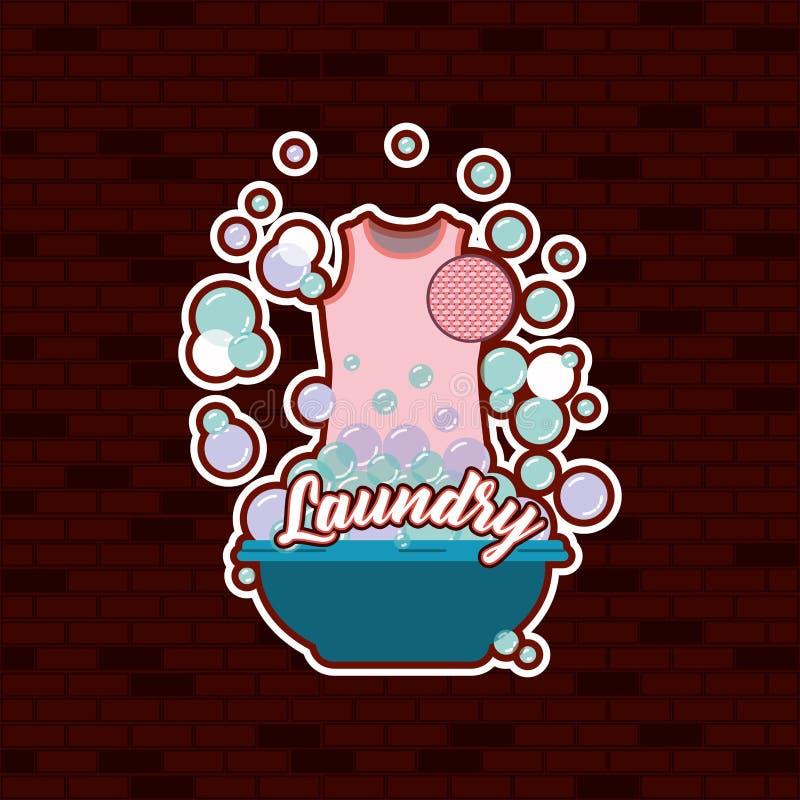 Fondo de la pared de ladrillo del paño femenino de la blusa rosada en lavabo con el texto del lavadero del jabón libre illustration