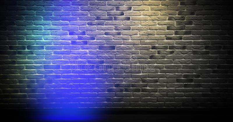 Fondo de la pared de ladrillo, luz de neón imagenes de archivo