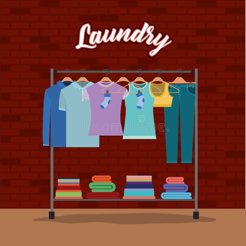 Fondo de la pared de ladrillo de la ropa en suspensiones con las toallas abajo libre illustration