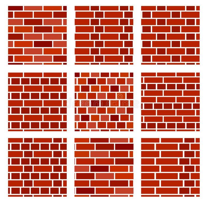 Fondo de la pared de ladrillo Sistema de modelos inconsútiles del vector Differen stock de ilustración