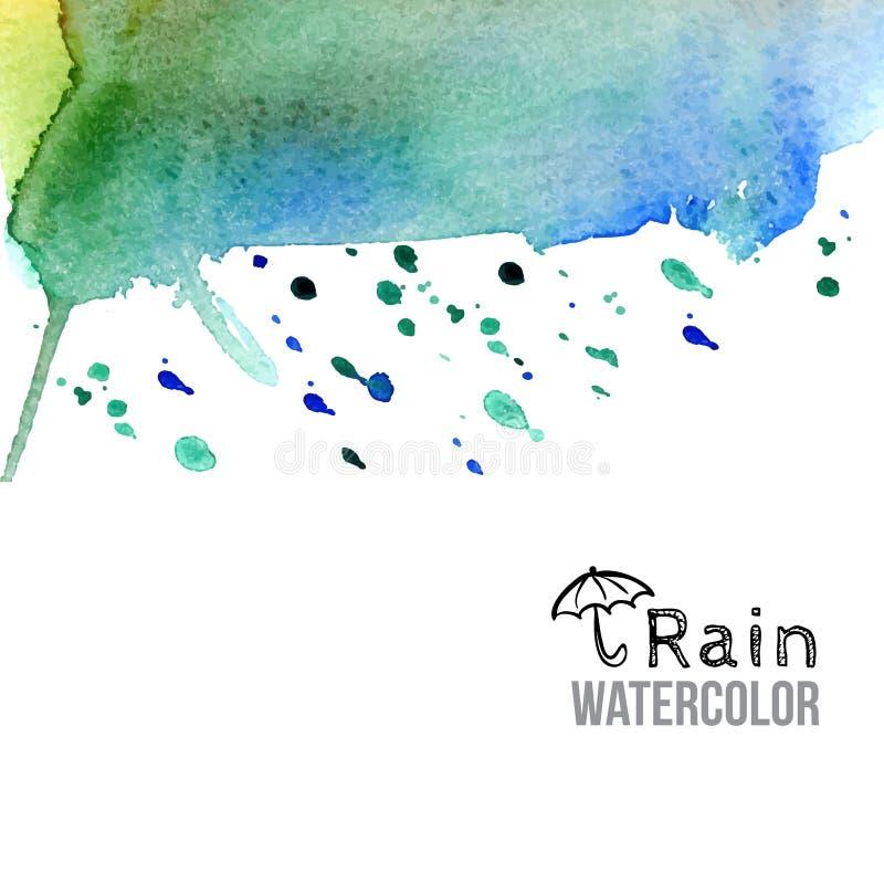 Fondo de la pintura de la lluvia de la acuarela del verde azul ilustración del vector