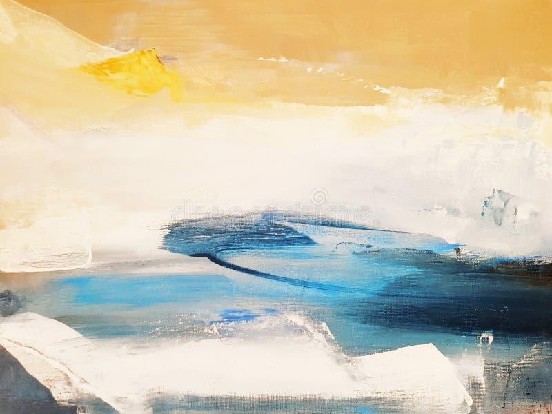 Fondo de la pintura del arte abstracto Paisaje de la naturaleza ilustraciones modernas imagen de archivo libre de regalías
