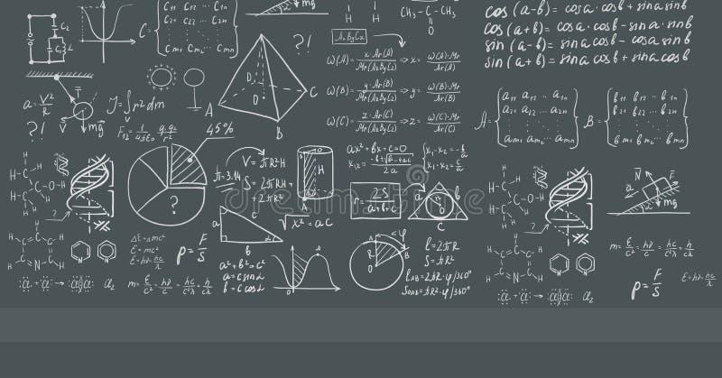 Fondo de la pizarra blanca con ecuaciones matemáticas ilustración del vector