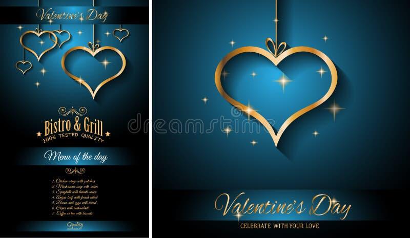 Fondo de la plantilla del menú del restaurante del día del ` s de la tarjeta del día de San Valentín para la cena romántica stock de ilustración
