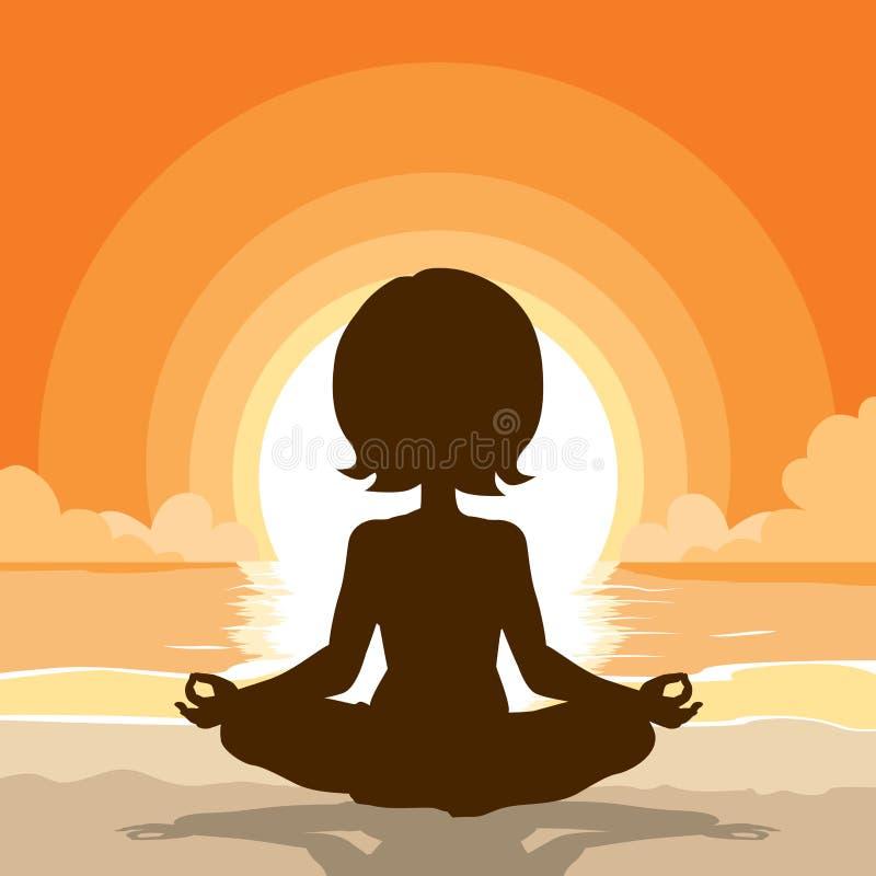 Fondo de la playa de la silueta de la yoga stock de ilustración