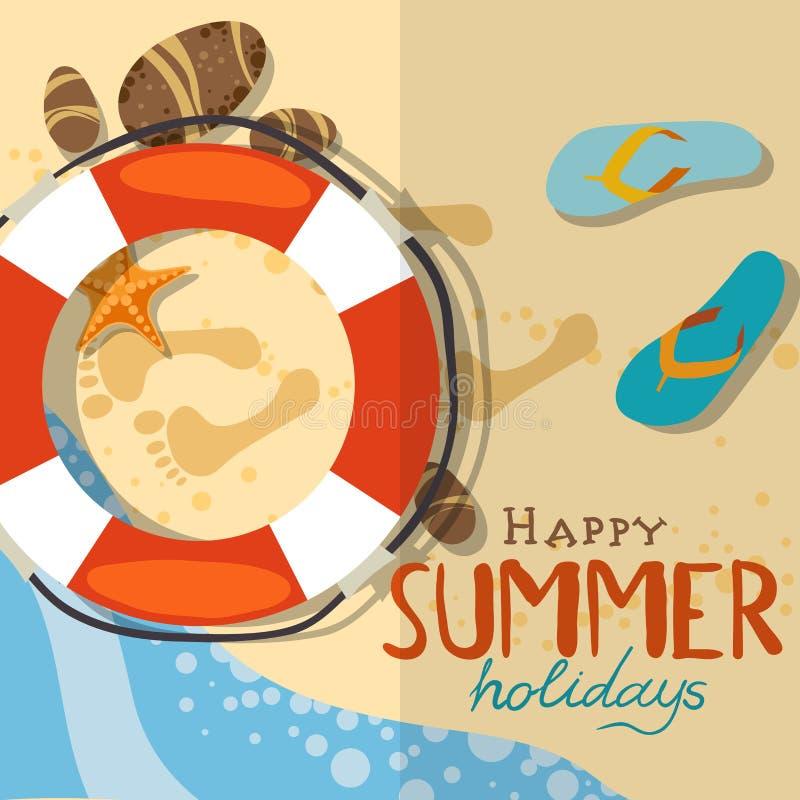 Download Fondo De La Playa Del Verano Ilustración del Vector - Ilustración de elemento, seashell: 42430229