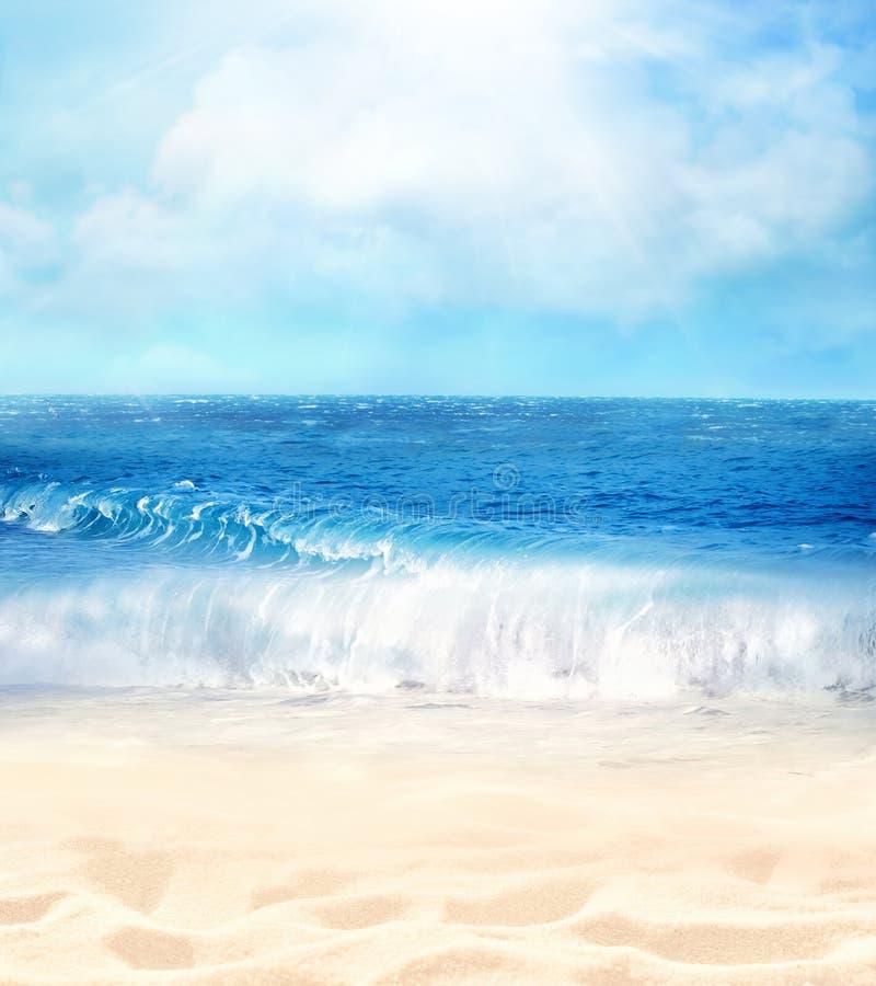 Fondo de la playa del verano Arena, mar y cielo fotografía de archivo