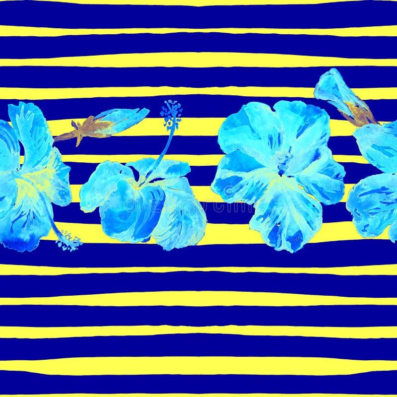 Fondo de la playa del verano Modelo inconsútil de la acuarela Adorno tropical pintado a mano del verano con el hibisco y la raya libre illustration