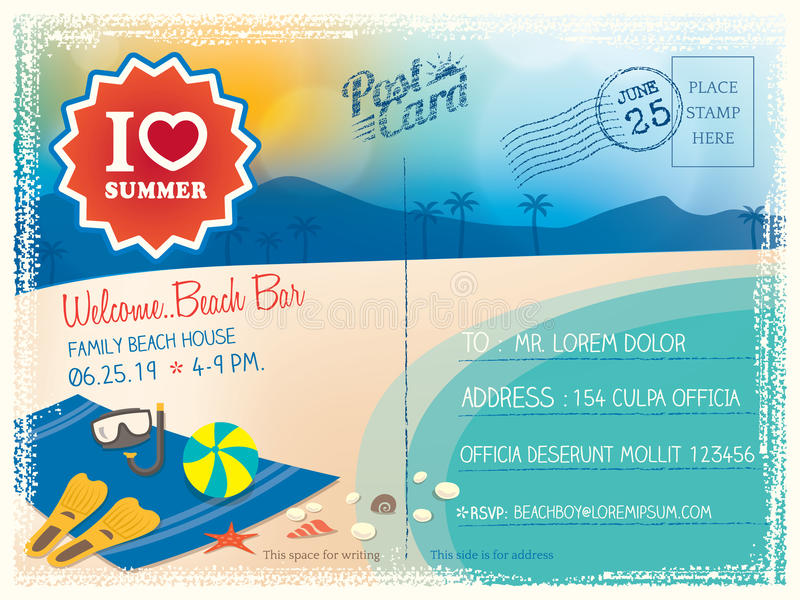 Fondo de la postal de las vacaciones de verano libre illustration