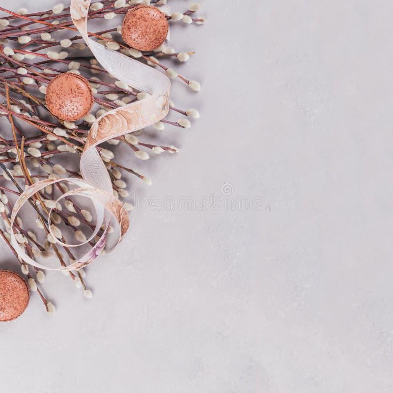 Fondo de la primavera con el manojo de ramitas del gatito-sauce, apretado por la cinta y los macarrones del chocolate dulce imagen de archivo