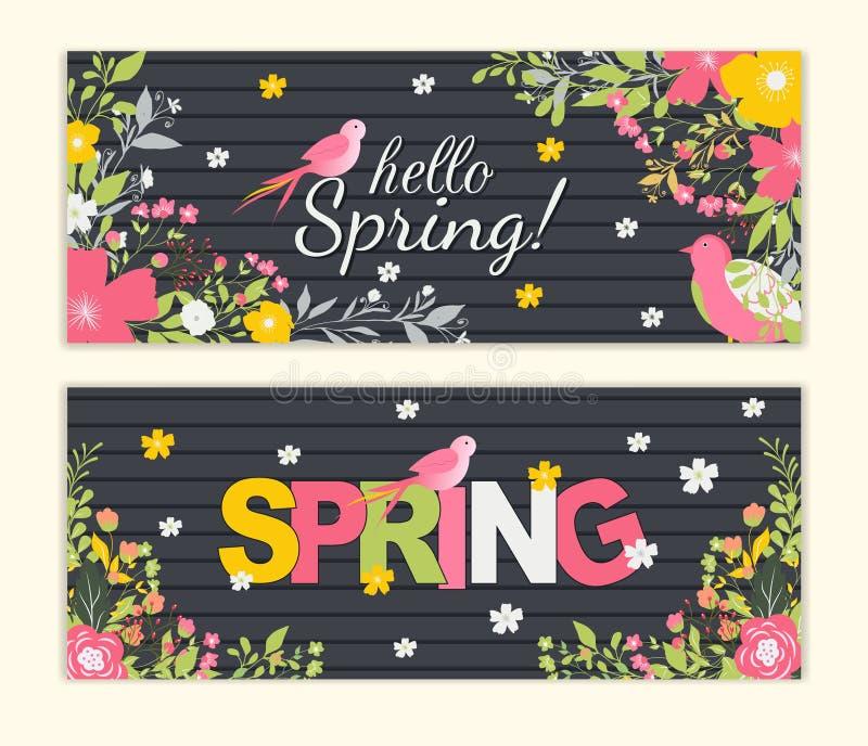 Fondo de la primavera con la flor colorida hermosa Plantilla del ejemplo del vector banderas wallpaper ilustración del vector