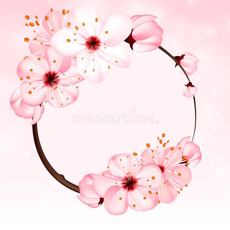 Fondo de la primavera con las flores rosadas del flor Ilustración del vector 3d Bandera floral vernal hermosa, cartel, aviador ilustración del vector