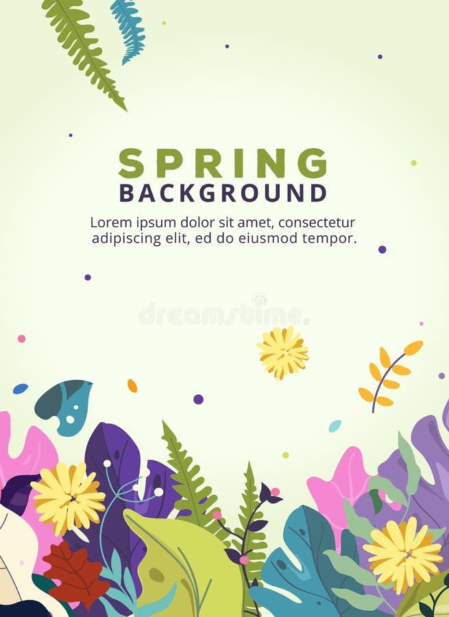 Fondo de la primavera con las hojas, flores para la tarjeta del cartel, de la bandera, del aviador, de la invitación, de la págin libre illustration