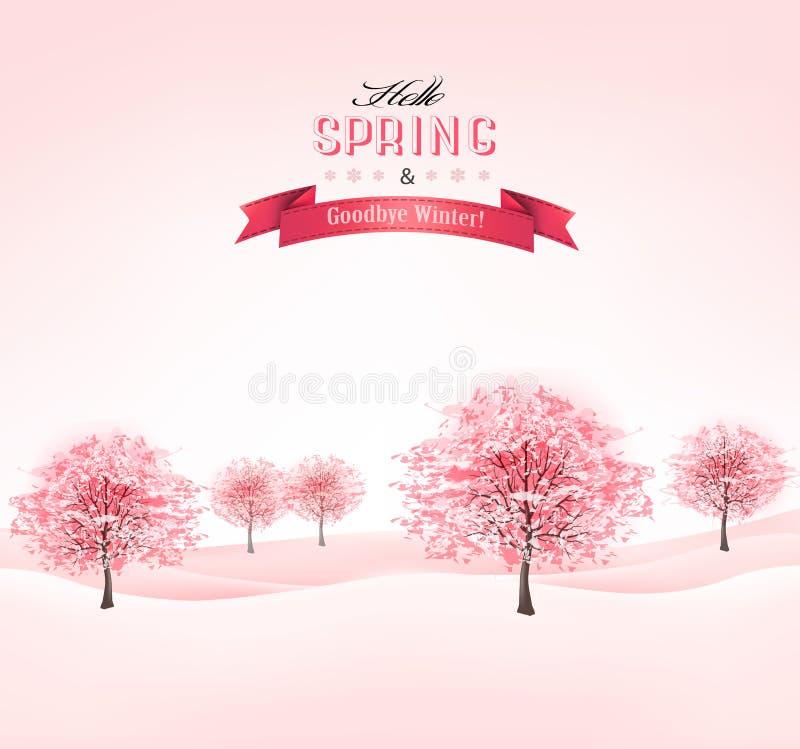 Fondo de la primavera con los árboles florecientes de Sakura. ilustración del vector