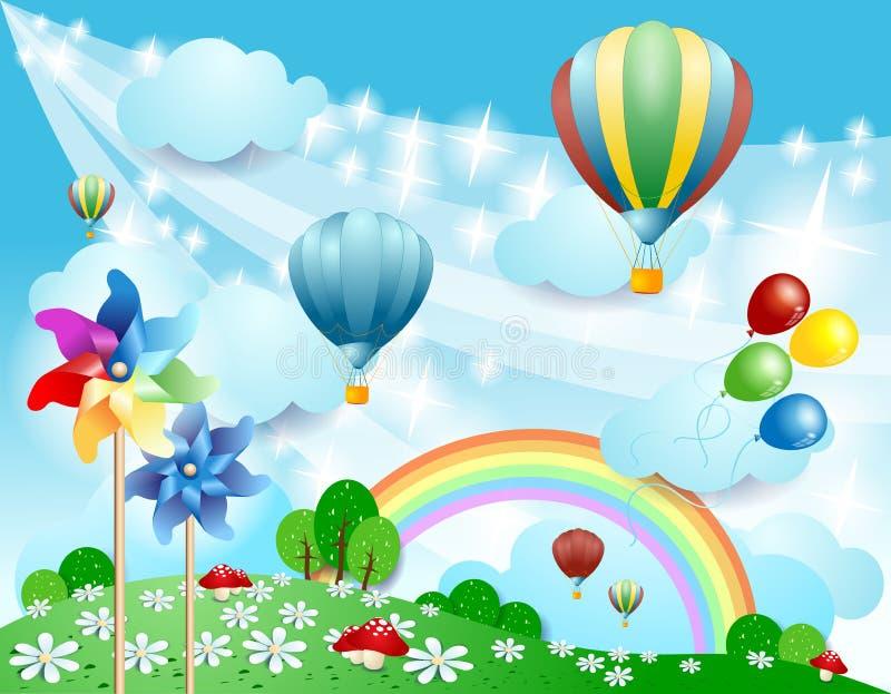 Fondo de la primavera con los globos y los molinillos de viento stock de ilustración