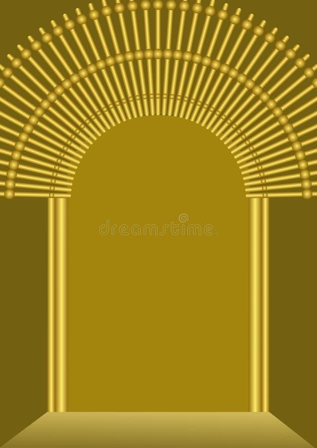 Fondo de la puerta de oro con el lugar en blanco para propio mensaje, plantilla lujosa para la religión, celebración, invitación, libre illustration