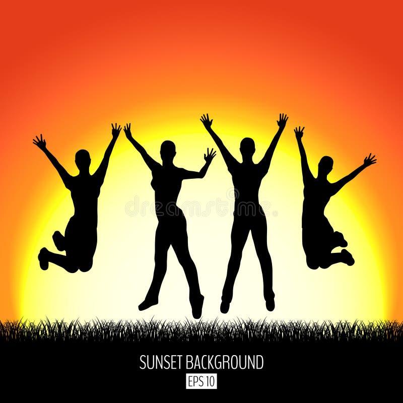 Fondo de la puesta del sol con la silueta de salto feliz del negro de cuatro mujeres stock de ilustración