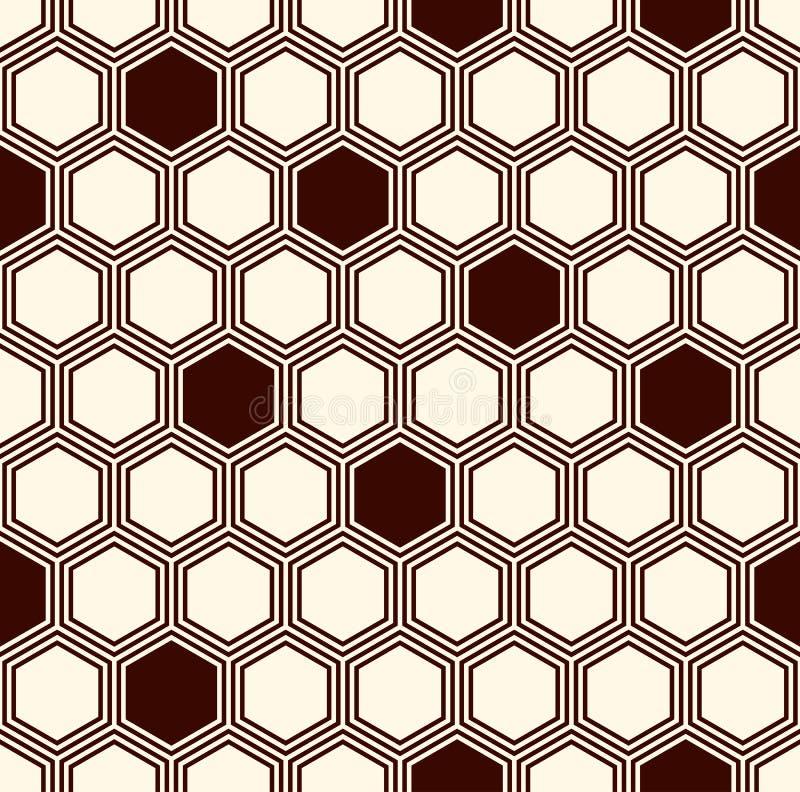 Fondo de la rejilla del panal Papel pintado repetido esquema del hexágono Modelo superficial inconsútil con el ornamento geométri ilustración del vector
