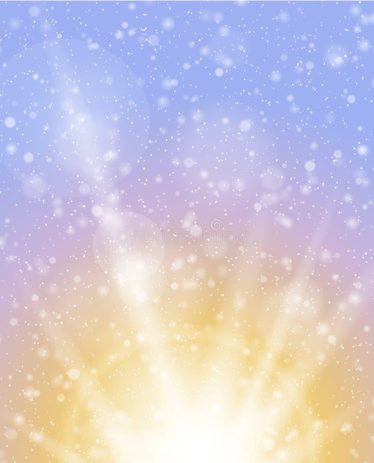 Fondo de la salida del sol de las nevadas del invierno libre illustration