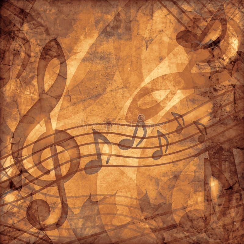 Fondo de la sepia de la música de la vendimia stock de ilustración