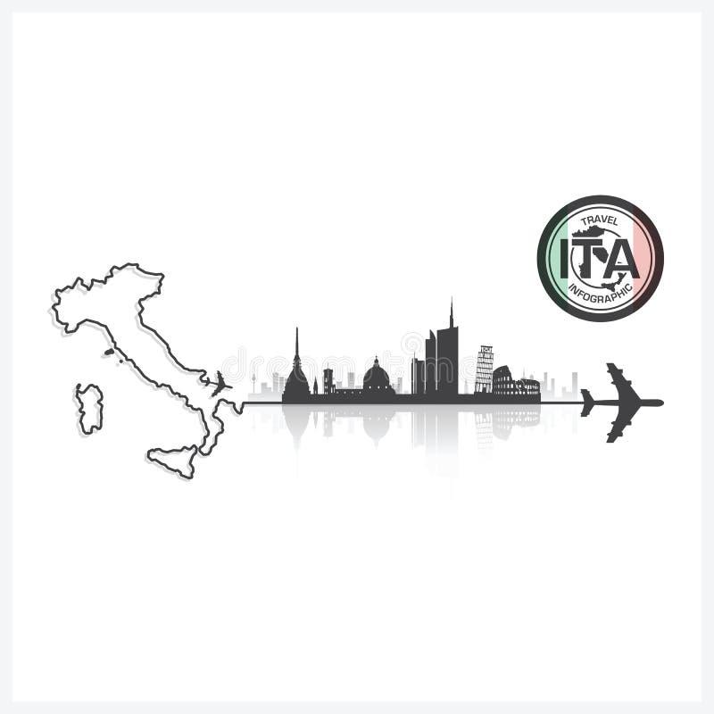 Fondo de la silueta de los edificios del horizonte de Italia libre illustration